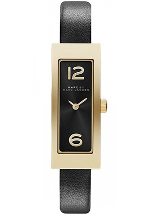 Women's Logo Plaque Black Leather Strap Watch 42x16mm MBM1295