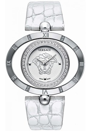 Women's White Leather Diamond Watch 40mm