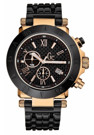 GC Men's Chronograph Black Ion Plated Stainless Steel Bracelet 46mm