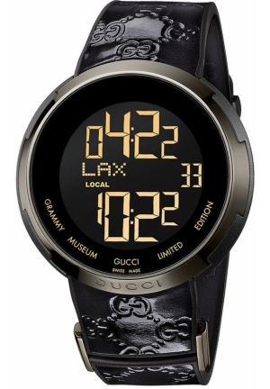 Men's Swiss Digital I-Gucci Micro GG Anthracite Patent Leather on Black Rubber Strap  49mm