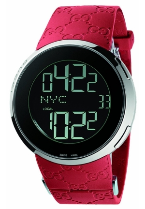 Men's I-Gucci Digital Red Rubber Strap Watch 45mm