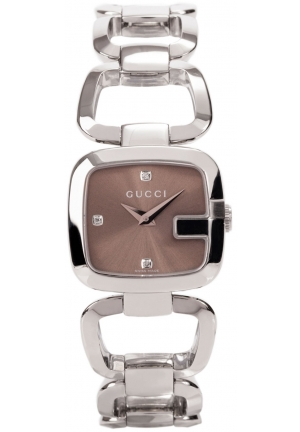 Gucci Women's G-Gucci Small Diamond Brown Dial Steel Watch   24 x 22.5 mm