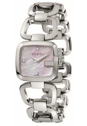 Women's G-Gucci Small Diamond MOP Dial Steel Watch  24mm