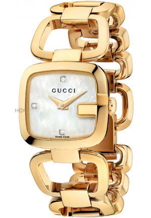 GUCCI G- Mother of Pearl Diamond Dial Gold Tone Ladies Watch