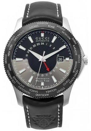 Men's G-Timeless GMT Black Leather Strap Watch 45mm