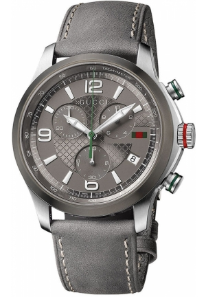 Gucci Watch, Men's Swiss G-Timeless Gray Leather Strap  44mm