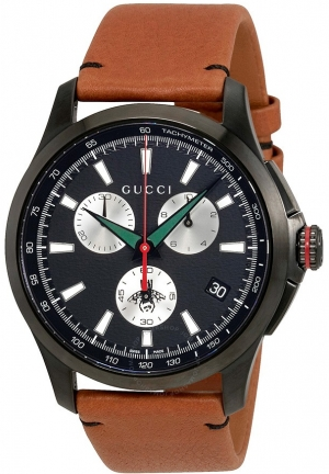 G-TIMELESS CHRONOGRAPH BLACK DIAL MEN'S CHRONOGRAPH LEATHER WATCH  44MM