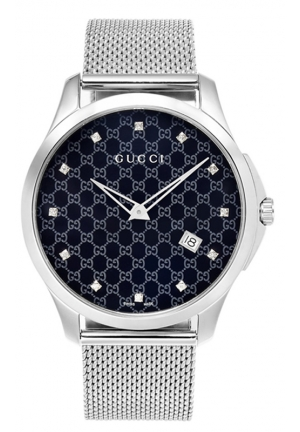 GUCCI G-Timeless Diamond Accent Stainless Steel Mesh Bracelet Watch  40mm