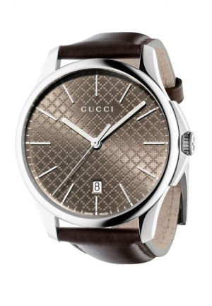 GUCCI G-Timeless Dark Brown Leather Strap Watch 39mm