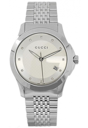 Men's G-Timeless Medium Diamond Marker Silver Dial Watch  38mm