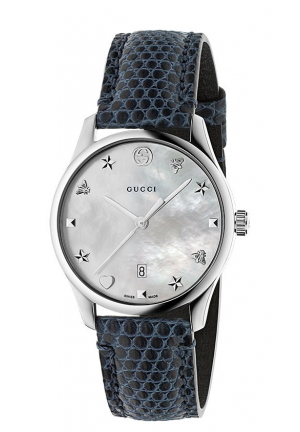 G-TIMELESS BLUE LEATHER WATCH, 36MM