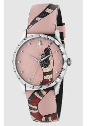 Le Marché des Merveilles Pink Leather Ladies Watch , 38mm