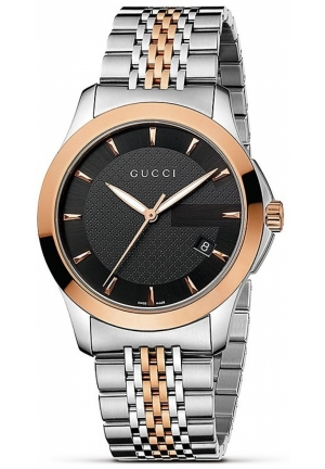 Men's Gucci timeless Steel and Pink PVD Black Dial Watch  38mm
