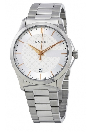 G-TIMELESS SILVER DIAL STAINLESS STEEL UNISEX WATCH YA126442, 38MM