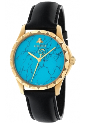 G-TIMELESS QUARTZ STAINLESS STEEL BLUE DIAL LADIES WATCH 38MM
