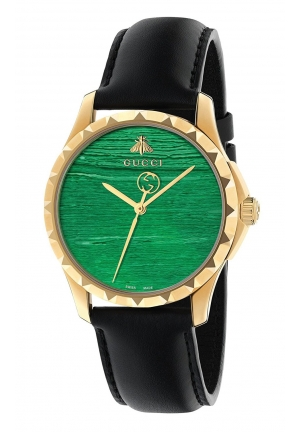 G-TIMELESS QUARTZ STAINLESS STEEL GREEN DIAL LADIES WATCH YA126463 38MM