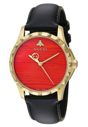 G-TIMELESS QUARTZ STAINLESS STEEL GOLD DIAL LADIES WATCH 38MM