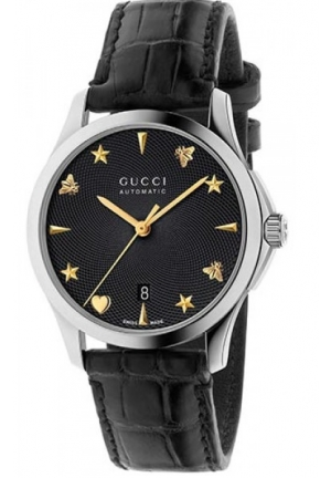 G-TIMELESS AUTOMATIC BLACK GUILLOCHÉ DIAL BLACK CROCODILE STRAP LADIES WATCH YA126469 38MM