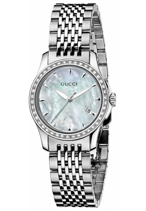 Gucci Women's G-Timeless Diamond Bezel MOP White Dial Watch  27mm