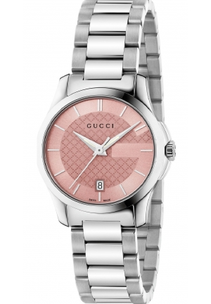 G-TIMELESS PINK DIAL STAINLESS STEEL LADIES WATCH 27MM