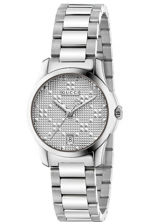 G-TIMELESS QUARTZ STAINLESS STEEL SILVER DIAL LADIES WATCH 27MM