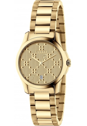 G-TIMELESS QUARTZ STAINLESS STEEL GOLD DIAL LADIES WATCH  27MM