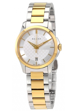 GUCCI G-Timeless Silver Dial Ladies Two Tone Watch