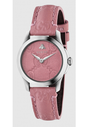 Gucci G Timeless Pink Leather Women Watch YA126578