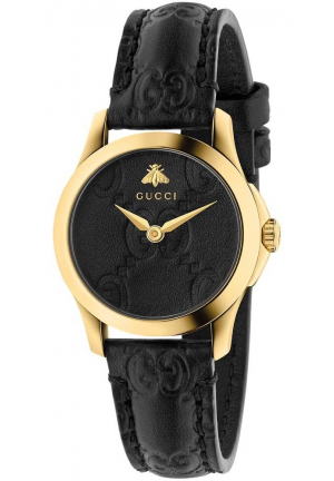 Gucci G-Timeless Black Leather Women Watch YA126581