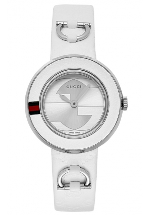 GUCCI U-Play White Guccissima Leather Strap Watch  27mm