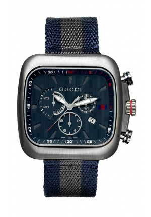 GUCCI Men's Swiss Chronograph Coupe Blue and Gray Stripe Nylon Strap  44mm