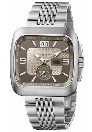 Men's Gucci Coupé Steel Bracelet Brown Dial Watch  40mm
