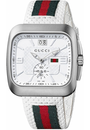 Gucci Watch, Men's Swiss Coupe Green and Red Stripe White Perforated Leather Strap  40mm