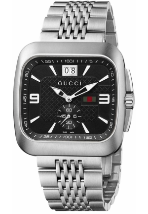 Men's Gucci Coupé Steel Bracelet Black Dial Watch  40mm