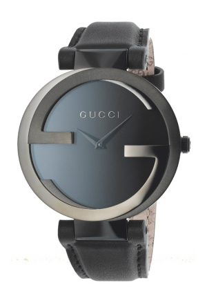 GUCCI Interlocking G Black Dial Black Leather Strap Unisex Watch  37mm