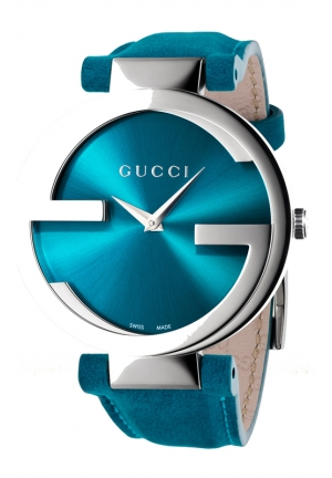 GUCCI Interlocking Turquoise Nubuck Leather Strap Watch  37mm