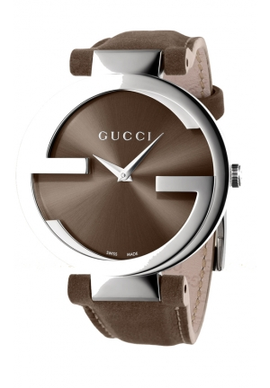 GUCCI Interlocking Brown Dial Brown Leather Ladies Watch  37mm