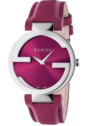 GUCCI Interlocking G Pink Dial Pink Leather Ladies Watch