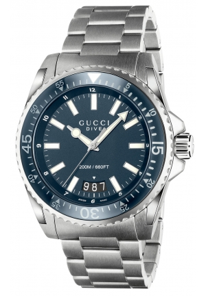 gucci dive extra large stainless steel watch YA136203 45mm
