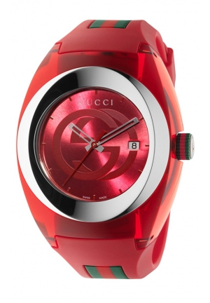 GUCCI Swiss Red and Green Rubber Strap Watch 46mm