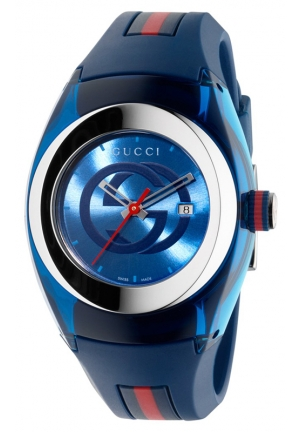 GUCCI Blue and Red Rubber Strap Watch 36mm