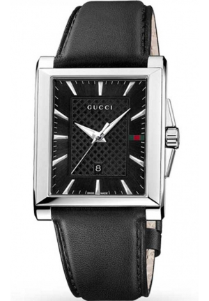 GUCCI Men's Swiss Black Leather Strap Watch 32mm