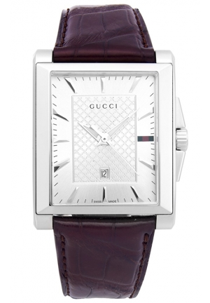 GUCCI Men's Swiss G-Timeless Brown Leather Strap Watch  33x32mm