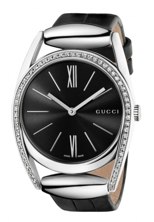 GUCCI Horsebit Diamond (1/2 ct. t.w.) Black Croc-Embossed Leather Strap Watch 34mm