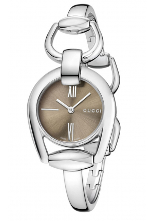 GUCCI HORSEBIT COLLECTION BROWN DIAL STAINLESS STEEL LADIES WATCH 28MM