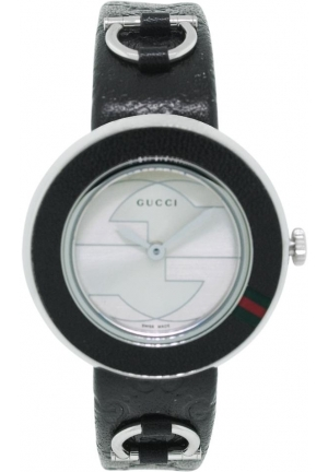Women's Swiss U-Play Black Guccissima Leather Strap  27mm