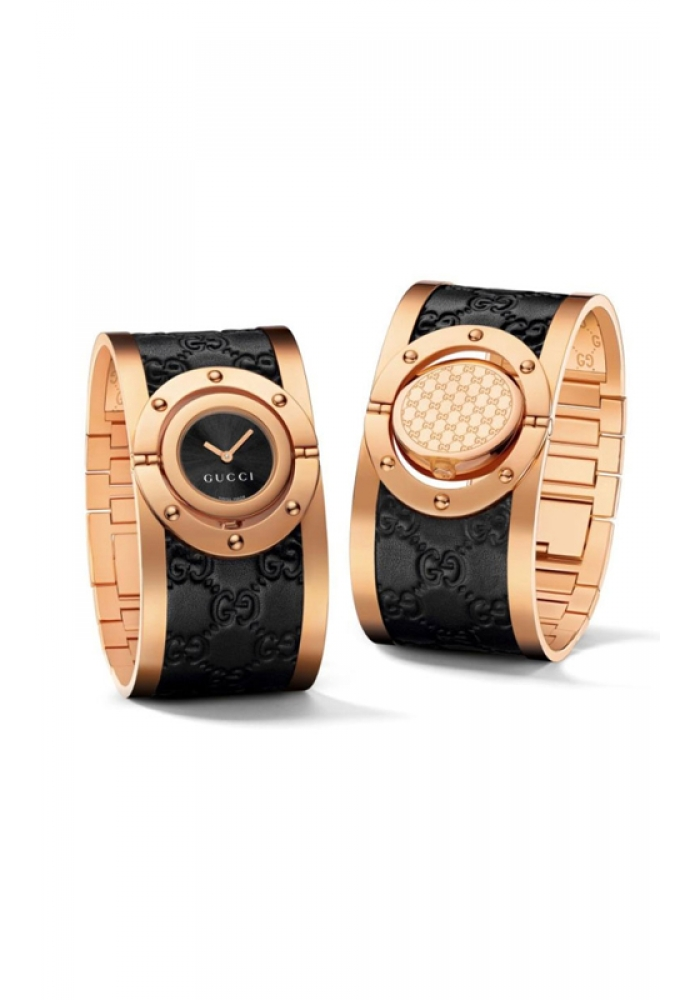 4612daefdcb GUCCI Swiss Twirl Black Guccissima Leather and Rose Gold PVD Stainless  Steel Bangle Bracelet Watch 24mm